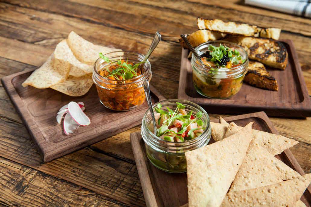 Ceviche, Poke, Burrata Jars with Chips & Bread