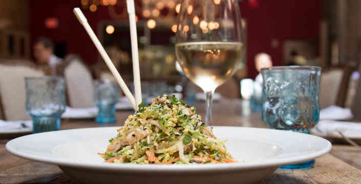 Stir Fry Salad with Chopsticks and White Wine