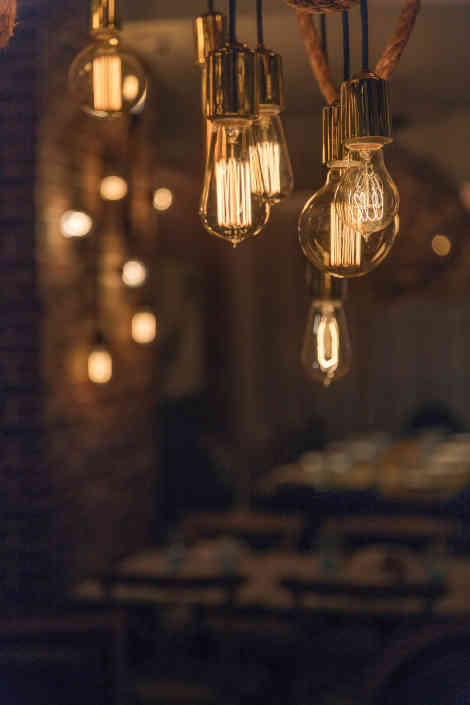 Edison Bulbs Hanging by Ropes