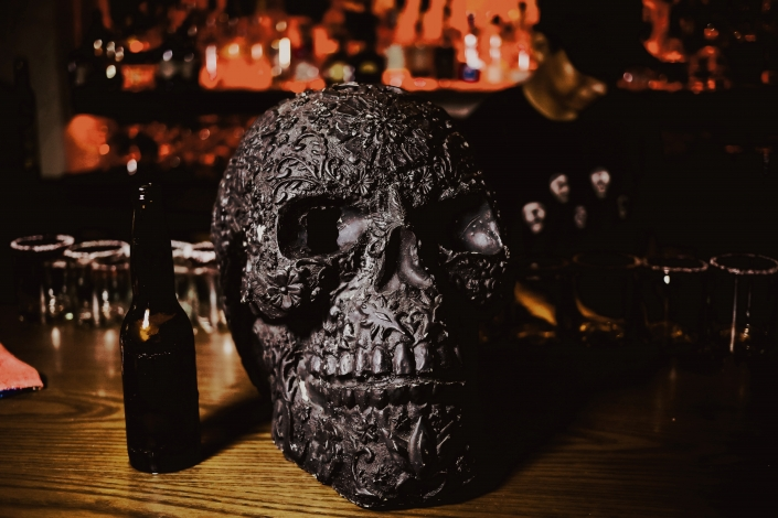 Calavera Skull with Beer