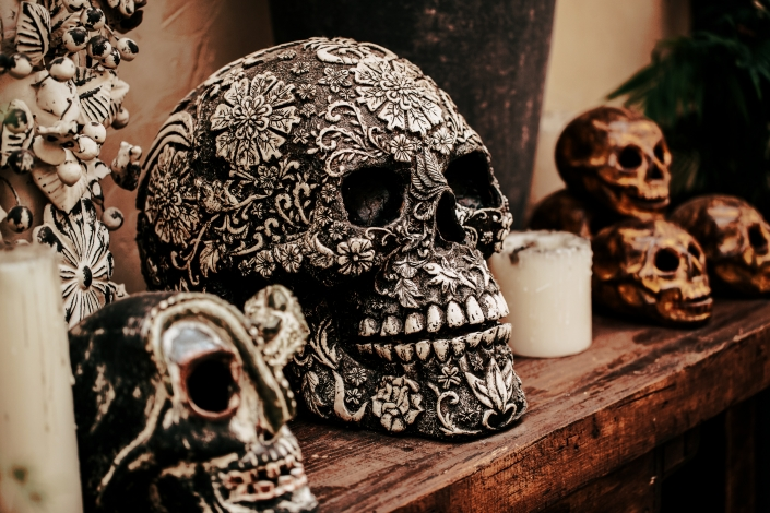 Calavera Skull with Candles