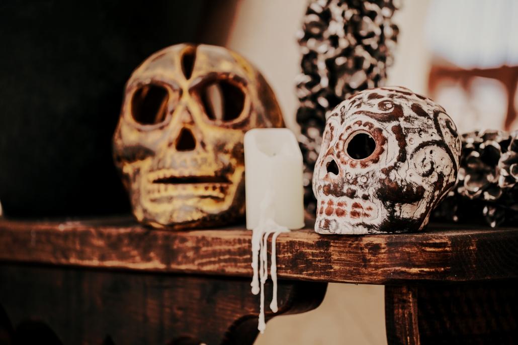 Calavera Skulls with Candle
