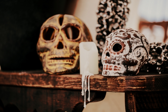 Calavera Skulls with Candle