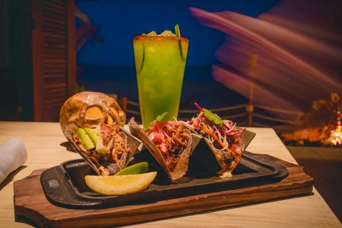 Various Tacos with a Kiwi Mojito