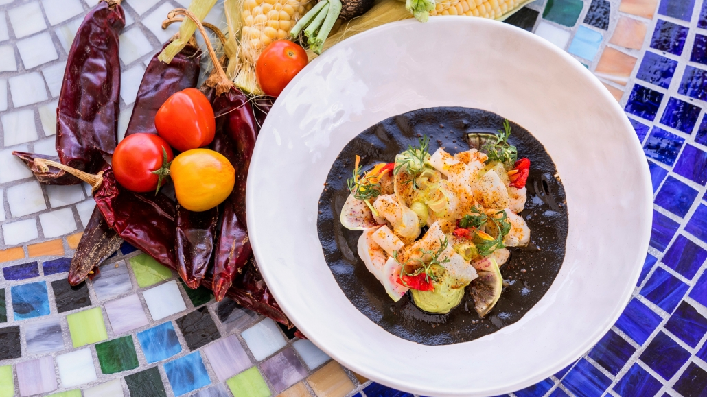 Black Shrimp Aguachile with Peppers and Tomatoes