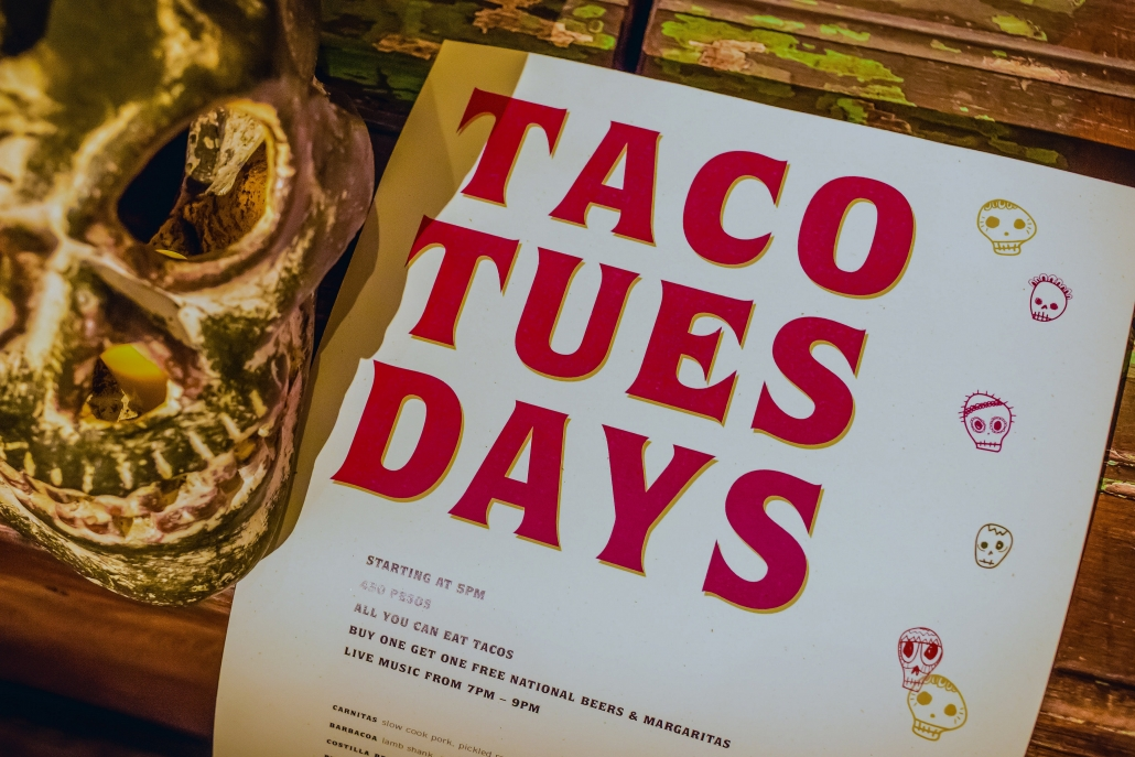 Taco Tuesday Flyer with a Skull