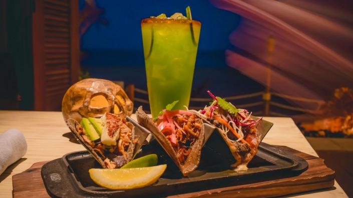 Taco Trio with Skull and Cocktail