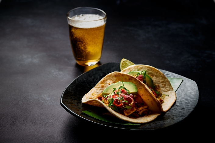 La Calavera taco with Beer