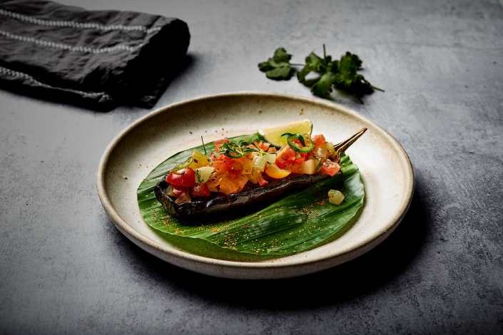 Roasted Aubergine with Pico de Gallo