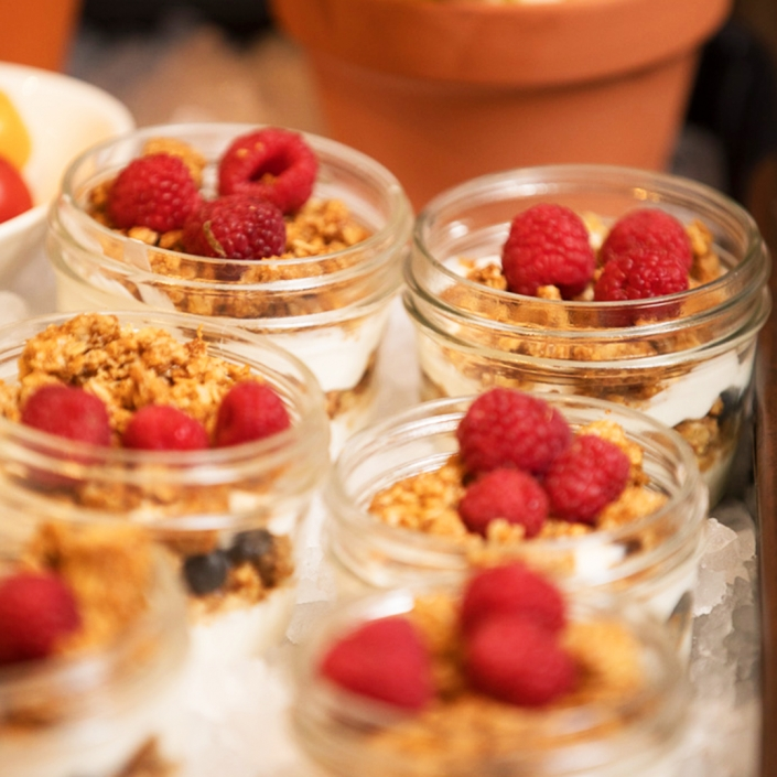 Berries in Granola in Jars
