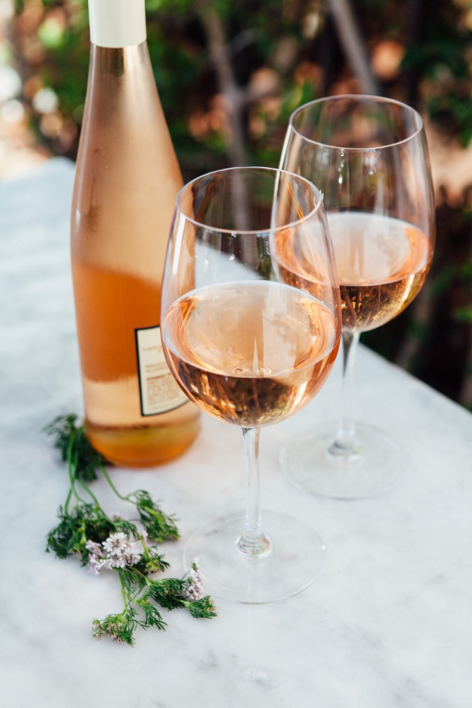 Bottle of Rose with 2 Glasses
