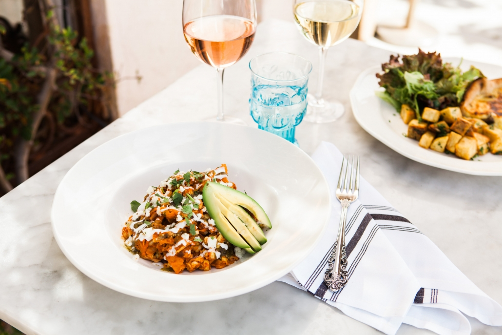 chilaquiles with avocado and rose wine