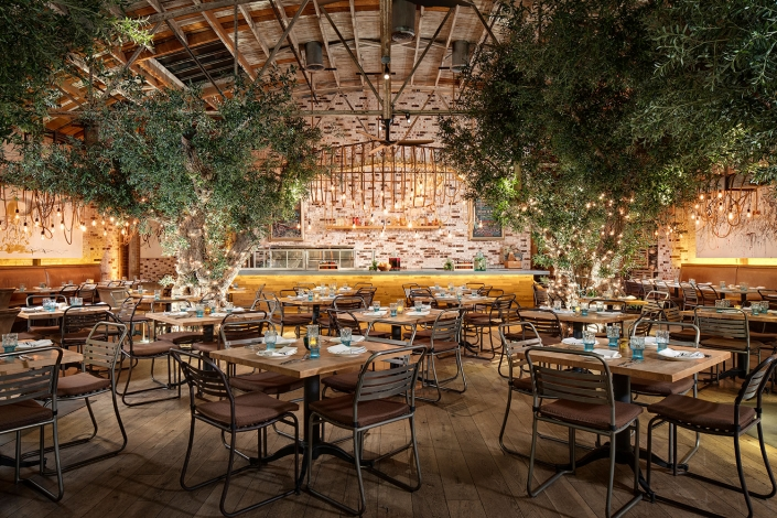 Dining area inside Herringbone Restaurant in La Jolla