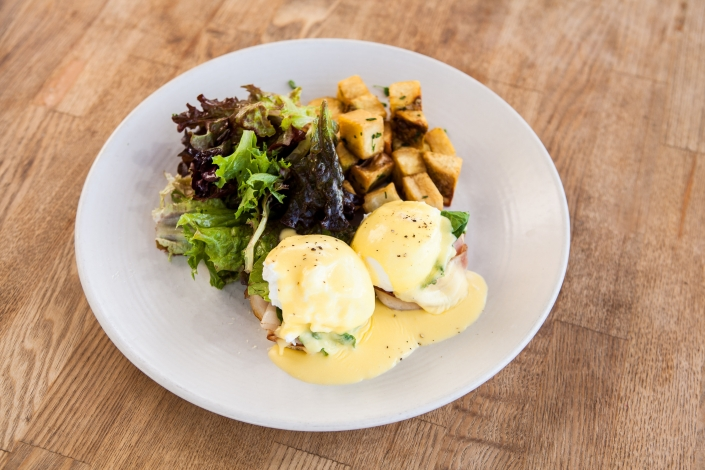 Eggs Benedict with Salad