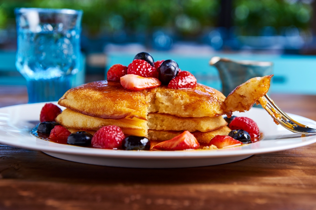pancakes with fruit on a table