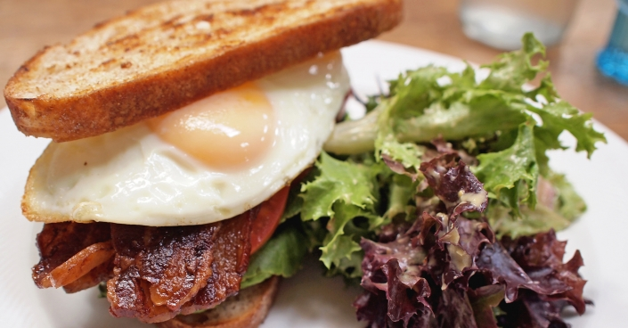 BLT Sandwhich with Eggs and Salad