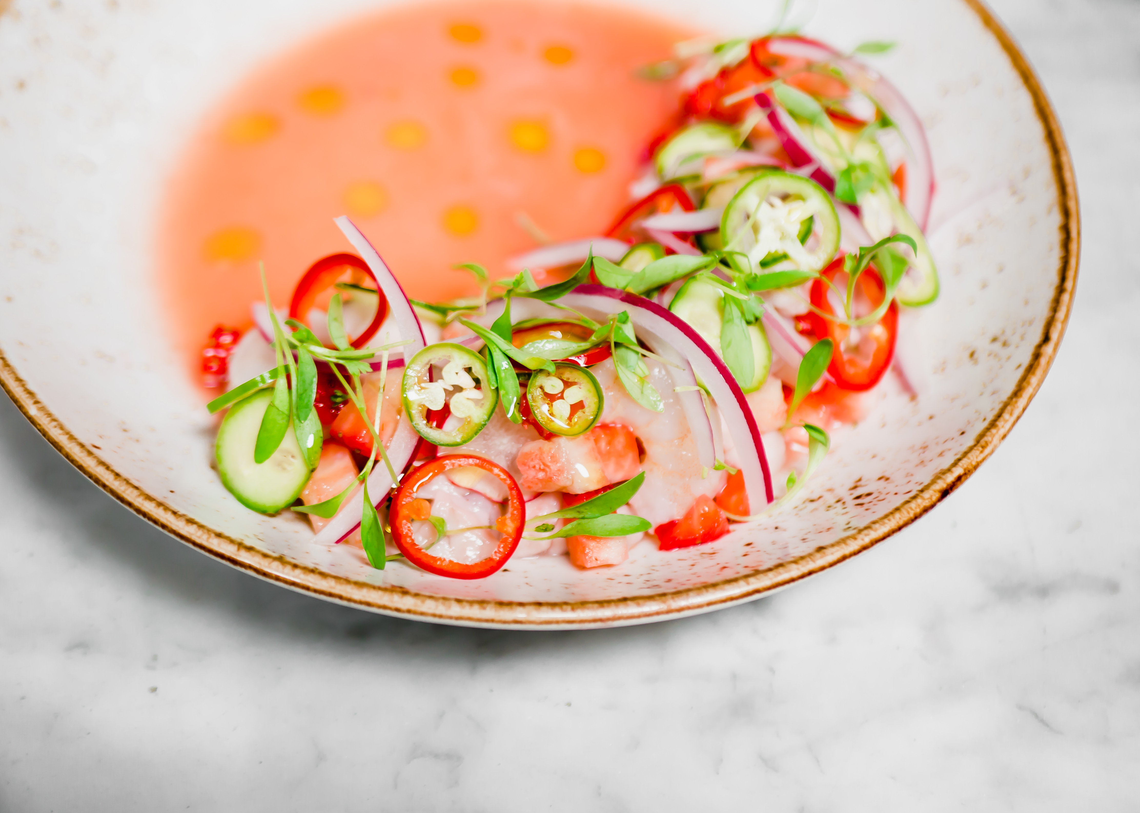 Strawberry Aguachile at Herringbone La Jolla