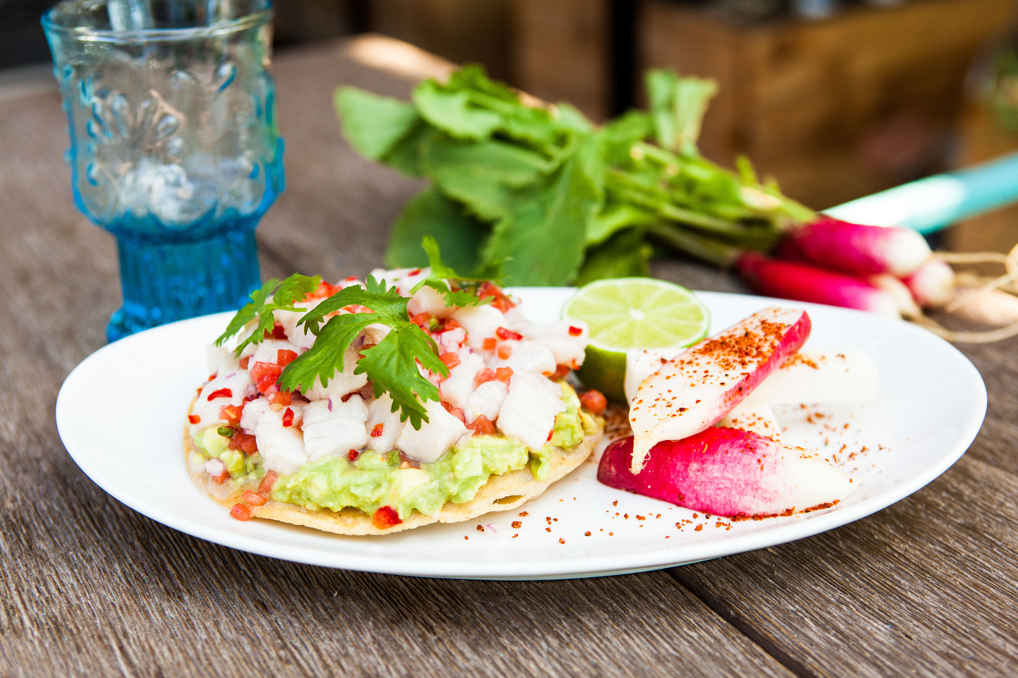 Tacos with radishes and lime