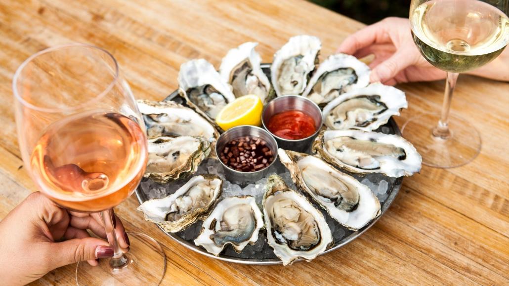 Oysters with Rosé at Herringbone La Jolla