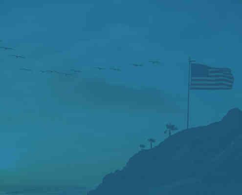 American flag by the coast for Herringbone's military discount