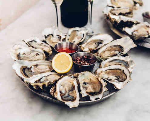 Oyster platter at Herringbone La Jolla