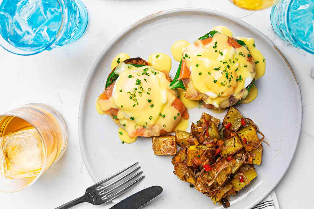 Eggs Benedict at Herringbone La Jolla's weekend brunch